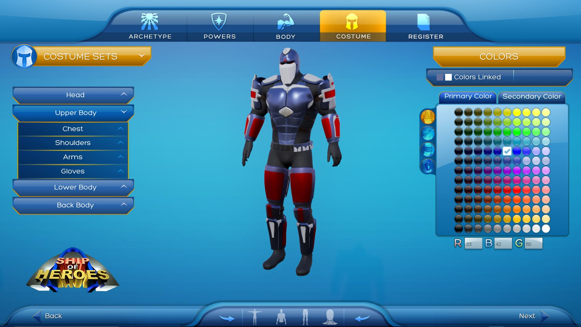 Ship of Heroes character creator